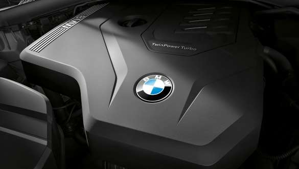 Close-up view of the BMW TwinPower Turbo 4-cylinder petrol engine in the BMW 3 Series Sedan.