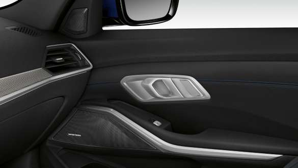 Close-up of the inner passenger door illuminated with built-in speaker of the Harman Kardon surround sound system.