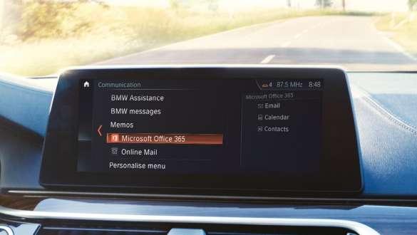 Control Display Microsoft Office application BMW X5 G05 2018 cockpit