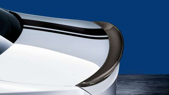 Close-up view of the BMW 3 Series Sedan with focus on the BMW M Performance rear spoiler carbon fibre.