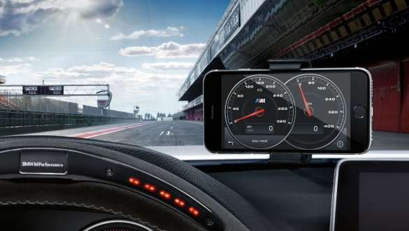 Close-up view of the BMW 3 Series Sedan with focus on the BMW M Performance drive analyser.