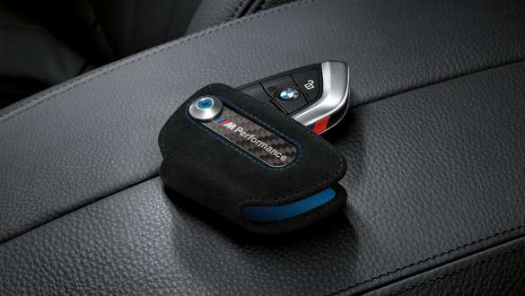 Close-up view of the BMW M Performance key case.